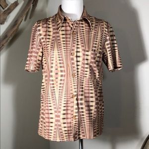 Vintage retro trippy Star 69 polyester shirt